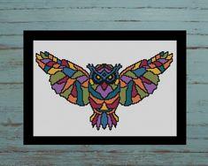 This item is unavailable Cross Stitch Embroidery, Embroidery Patterns, Cross Stitch Sea, Geometric Owl, Kite Designs, Modern Cross Stitch Patterns, Back Stitch, Chart, Crossstitch