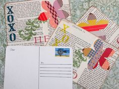 Handmade washi tape flower postcard