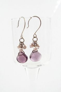 These pretty amethyst crystal briolette and crystal pearl earrings are finished…
