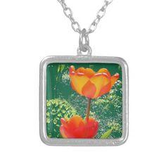 Orange Flower Pendants #Flower #Necklace #Pendant