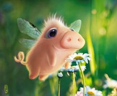 Digital Painting Inspiration Vol. 17 - very cool - Tiere Cute Fantasy Creatures, Cute Creatures, Cute Animal Drawings, Cute Drawings, Foto Picture, Pig Art, Flying Pig, Whimsical Art, Cute Illustration