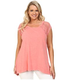 DKNY Jeans Plus Size Lace Pieced Cold Pigment Sharkbite Top (Coral)