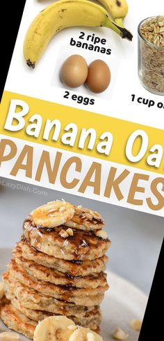 Looking for healthy breakfast ideas? These 3 ingredient pancakes are made with just a few ingredients including bananas, oats and eggs. They are packed full of protein, potassium and fiber! So simple, yet even your picky kids will love this clean eating breakfast recipe.#Pancake #Recipe #Pancakes #Healthy #Oatmeal Pancake Recipe For One 9+ Healthy Banana Oatmeal Pancakes (Quick & Easy!)   Pancake Recipe For One Easy   2020 Quick And Easy Breakfast, Healthy Breakfast Recipes, Easy Healthy Recipes, Breakfast Ideas, Banana Oatmeal Pancakes, Pancakes Easy, Breakfast Pancakes, Clean Eating Breakfast, Bananas