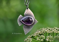 Sterling Silver Amethyst Necklace Migratory Bird. READY TO SHIP! Instantly elevate your style with a unique piece of wearable art! My collection of nature-inspired Sterling silver jewelry is completely handmade and features hand-etched designs and gorgeous natural gemstones. Each engraving