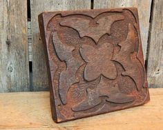 Early Antique Primitive Carved Wood Block Stamp WallPaper Fabric Textile #HandCarved