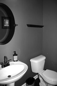Wall Color - Gray bath {just had a grand idea.what if you staged a bathroom so that it was ALL monochrome black and white...down to the last detail...how cool would that be?! Like walking into a black and white movie }