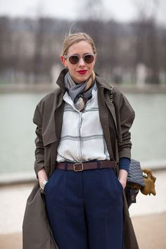 Trench Coat Street Style Paris #Fashion Week Fall 2013 #pfw