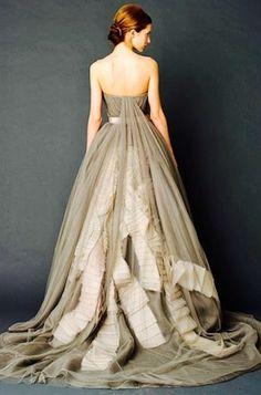 Ethereal+Gray+Vera+Wang+Wedding+Gown
