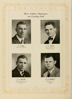 """Athena Yearbook, 1927. The """"Men's Athletic Department and Coaching Staff"""" contained some familiar campus names-- Bird, Grover, and Peden. :: Ohio University Archives"""