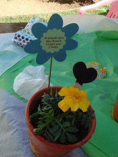 Saying for a make-your-own-flowerpot for kids #girls birthday party ideas