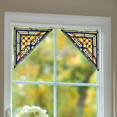 ImprovementsCatalog - Stained Glass Window Corner Art-Set of 2
