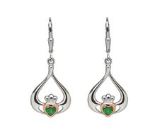 Sterling Silver & Rose gold Claddagh drop earrings with centre green stone Heart Face, Irish Jewelry, Claddagh Rings, Stone Heart, Love Symbols, Green Stone, Teardrop Earrings, Wedding Rings, Rose Gold