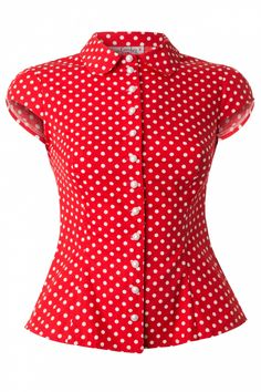 Miss Candyfloss - Lulu Blouse in Red Polka Dot