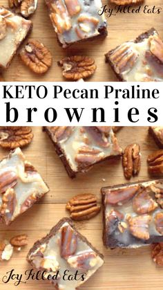 Pecan Praline Brownies = The Best Brownie Ever. Rich, fudgy, covered with pecans & creamy praline. Gluten/Grain/ Sugar-Free, Low Carb, THM S. Sugar Free Desserts, Low Carb Desserts, Gluten Free Desserts, Protein Desserts, Healthy Desserts, Trim Healthy Recipes, Low Carb Recipes, Cooking Recipes, Pecan Recipes