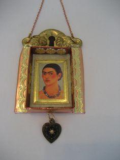 Frida shrine altered matchbox ornament in copper with brass keyhole. Frida Kahlo