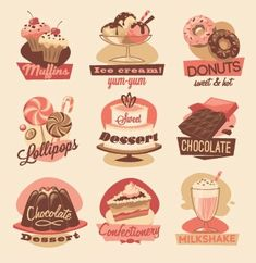 Professionally made, high quality Bakery Sweets clipart,cupkake clip,candy… Sweets Clipart, Candy Clipart, Cupcake Clipart, Fruit Clipart, Food Clipart, Donuts, Milkshake, Vintage Recipes, Vintage Food
