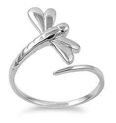 Sterling Silver Small Dragonfly Ring dreamland jewelry