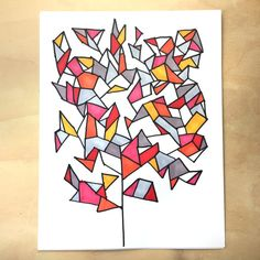 Geometry Tree drawing game from Tangle Art and Drawing Games for Kids book