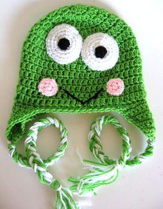 frog earflap hat print