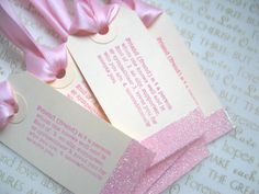 Bridesmaids' Gift/Favor Tags, Glam Ivory & Pink, Friendship,Set of 5. $9.00, via Etsy.