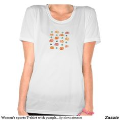 Women's sports T-shirt with pumpkins and leaves