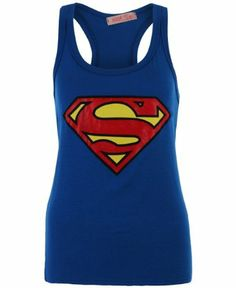 Superman T Shirt Ladies The Ladies Superman T Shirt is great for everyday casual wear, featuring a large print of the Superman logo in a contrasting glitter to the centre chest. This Superman t shirt also has short cap sleeves with a gather detail and a crew neck collar for a comfortable fit.