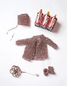 """medicine bundles for the non-born child"" Fiona Halll (clothes knitted with coke cans) Contemporary Sculpture, Contemporary Artists, Vija Celmins, Australian Artists, Soft Sculpture, Art Object, Various Artists, Art Studios, Food Art"