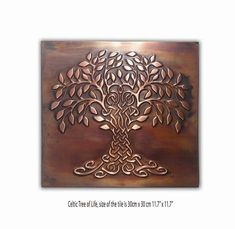 Tree of Happiness and Life Metal Decorative Tile ndash; Metal Walls, Metal Wall Art, Metallic Wall Tiles, Copper Decor, Unique Tile, Celtic Tree Of Life, Metal Tree, Pure Copper, Decorative Tile