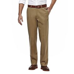 Men's Haggar Premium No Iron Khaki Stretch Straight-Fit Flat-Front Pants, Size: 38X32, Beig/Green (Beig/Khaki)