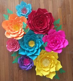 Flores de papel gigantes de pc 8 Fiesta tema Frida Kahlo