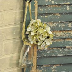 This quaint glass hanging jar is a charming accent for your home, inside or on your porch. The blue hydrangea flower is so full and life-like, perfect for year-round color and cheer. #country #decor #artificial #spring #flowers
