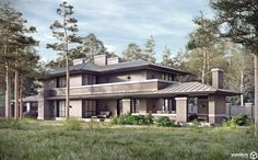 roofs - Contemporary Prairie House by Yunakov Architecture in Kiev, Ukraine Building Layout, Building Design, Building A House, Prairie House, Prairie Style Houses, Japanese Architecture, Architecture Design, Prairie Style Architecture, Arch House