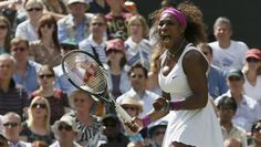 Image: Serena Williams of the U.S. reacts to breaking the serve of Victoria Azarenka of Belarus during their women's semi-final tennis match at the Wimbledon tennis championships in London