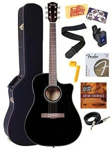 Fender CD-60CE Dreadnought Cutaway Acoustic-Electric Guitar Bundle with Hard Case, Instrument Cable, Strings, Tuner, Stringwinder, Strap, Pi...
