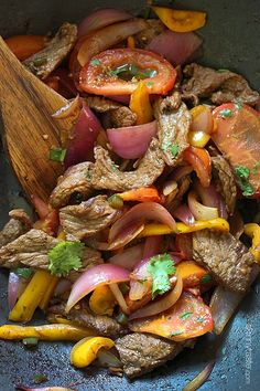 Lomo Saltado (Peruvian Beef Stir Fry) | Skinnytaste Delish looking stir fry & a perfect low carb meal (minus the baked fries)
