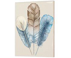 Картина Blue feathers - керамика, 15х20 см