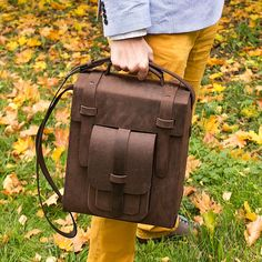 Leather mens messenger bag of brown color genuine leather.  Durable cross body bag for a stylish man. #inbagwetrust