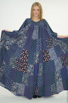 """Купить Лоскутное платье """"Цветочная фантазия-2"""" - синий, цветочный, цветочное платье, лоскутное шитье"""