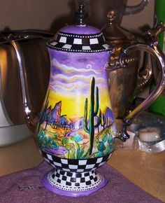 Misty Oakley's painted silver tea pot. Enamel Paints. art available at mistyscreations.etsy.com