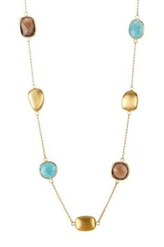 18K Gold Clad Hammered Bezel Grey Chalcedony, Caribbean Blue Quartzite & Satin Pebble Necklace