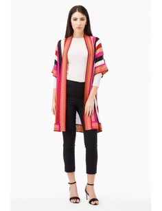 Maxi knit cardigan, vertical stripes, contrast trims. Model shown is  177 cm wearing a size Small. Made in Italy.Spring Summer Collection 2017 www.fuzzishop.com & www.fuzzishop.us free shipping and free returns - spedizione e resi gratuiti - made in italy -#fuzzi #fuzzishop #colorful #glam #girls #women #womenswear #fashionblogger #cool #ootd #outfit #fashion #style #outfits #passion #love #gift #stylish #shopping