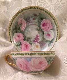 Limoges Cup and Saucer Hand Painted | eBay
