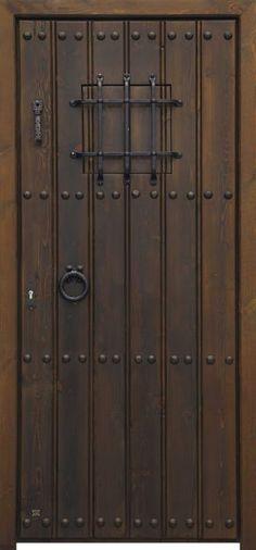 Puerta calle dos hojas reja grande color nogal oscuro for Puertas rusticas exterior