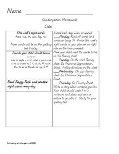 Kindergarten Or First Grade Monthly Homework Calendar April