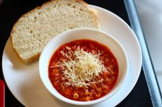 Tomato Pasta Soup -  Only 4 steps to table.  Yummy!