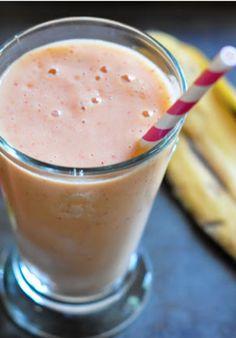 Strawberry, Mango, Peach & Banana Smoothie: w/ frozen coconut yogurt, almond milk, water, tbsp  of 100% natural peanut butter & teeny pinch of cayenne. (no protein powder/allergic)