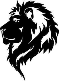 Illustration of Graphic lion, black and white drawing for tattoo. vector art, clipart and stock vectors. Lion Stencil, Stencil Art, Silhouette Lion, Lion Tribal, Tribal Lion Tattoo, Lion Vector, Lion Head Tattoos, Lion Tattoo Design, Lion Design
