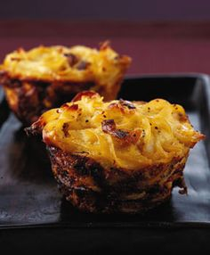 I swear I have pinned this before, but here it is again for #Hanukkah - browned onion kugels - personal size portions in a muffin tin