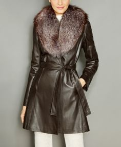 78a90f9285297 The Fur Vault Fox-Fur-Collar Belted Leather Coat - Black S