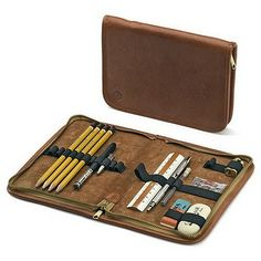 This beuaitful leather writing case is just one of dozens of gorgeous, useful, classic office pieces available from Manufactum. From writing tools, desk accessories to organization and other items, this site is the mecca of office beauty. (via Manufactum) Crea Cuir, Writing Offices, Pen Case, Leather Working, Art Supplies, Office Supplies, School Supplies, Travel Supplies, Leather Craft